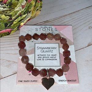 Jewelry - Strawberry quartz bracelet NEW stretch genuine